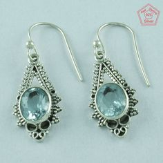 Blue Topaz Stone 925 Sterling Silver Classy Design Earrings Supplier India E2848 #SilvexImagesIndiaPvtLtd #DropDangle