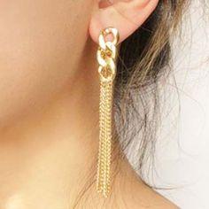Omega Link Tassel Earrings