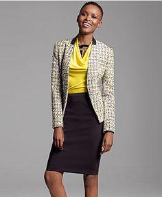 blazer, blouse, pencil skirt