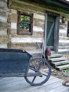 Railroad Tie Cabin & Wooden Wheelbarrow
