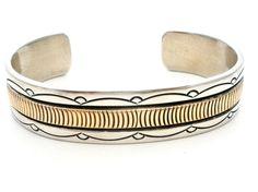 Navajo 14K Gold Sterling Silver Bracelet Bruce Morgan Cuff Native American