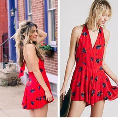 Free People Floral Red Smooth Talker Romper Dress Fully lined Free People romper in excellent like new condition. Only worn once! Sold out everywhere! Free People Dresses Mini