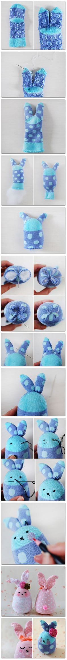 How to make Socks Bunny DIY step by step tutorial instruction | Welcome Craft