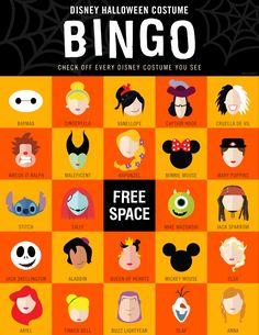Disney Halloween Costume Bingo