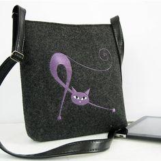 Crossbody BagCat bag hippie bag  Felt shoulder bag Cat