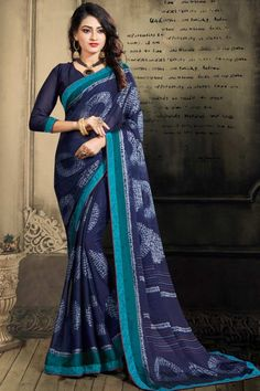 Navy Blue chiffon saree with navy blue chiffon blouse. Embellished with stone work embroidery. Saree with Sweetheart Neckline, Quarter Sleeve. It comes with unstitched blouse. Blue Abstract, Abstract Print, Indian Sarees Online, Designer Sarees Online, Chiffon Saree, Traditional Sarees, Navy Blue Color, Printed Sarees, Indian Ethnic Wear