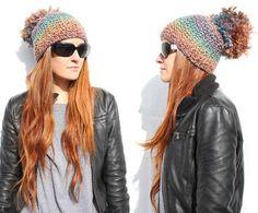 Oversized Pom Pom Beanie    Knit your own using this pattern: http://www.rockmosaic.com/2013/01/diy-pom-pom-beanie-knitting-pattern.html