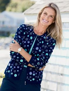 Shop Charming Dots Cardigan and other Womens Sweaters and Womens Clothing in Misses, Petite, and Plus Size at Appleseed's.