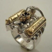Big Block Chevrolet Ring. Sterling Silver, Brass Moroso Val $350ve Covers, Brass Carburetor.