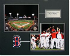 Framed photos celebrating the Red Sox 2013 World Championship