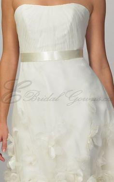 2016 Beach Organza Cocktail Dress Softly Curved Neckline Wedding Dresses (4836)