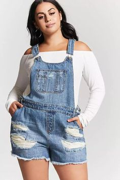 Product Name:Plus Size Denim Overall Shorts, Category:plus_size-best-sellers, Denim Overall Shorts, Overall Shorts Outfit, Plus Size Jeans, Look Plus Size, Plus Size Girls, Overalls Plus Size, Short Outfits, Trendy Outfits, Summer Outfits