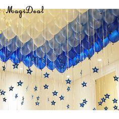 in Dark Light Blue and White Balloons Foil Star Hanging String Romantic. in Dark Light Blue and White Balloons Foil Star Hanging String Romantic Decorations Wedding Valentine& Party Supplies Pack of 100 Source by s. Balloon Ceiling Decorations, Birthday Balloon Decorations, Pearl Decorations, Wedding Decorations, Romantic Decorations, Decoration Party, Birthday Balloons, Deco Baby Shower, Baby Showers