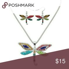 """Colorfull Oil Drip Dragonfly Necklace Set Pendant Approx 3"""" x  2"""" Jewelry Necklaces"""
