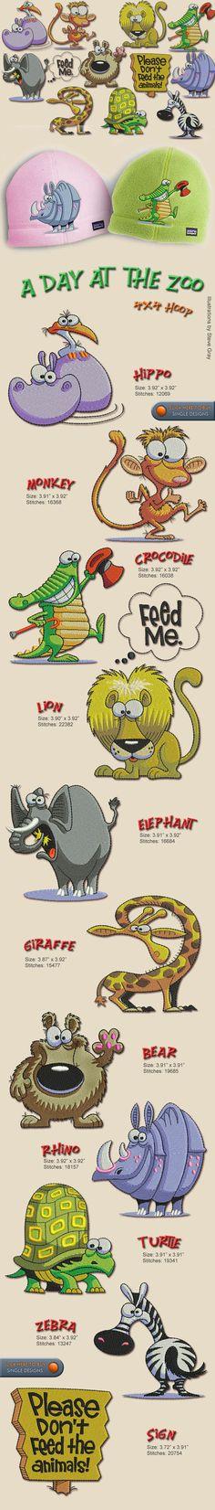 4x4 hoop ANIMAL,ZOO,ELEPHANT,MONKEY,LION,RHINO,HIPPO,ZEBRA,TURTLE, Embroidery Designs Free Embroidery Design Patterns Applique