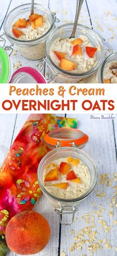 Dairy-Free Peaches and Cream Overnight Oats Breakfast Recipe - Need a dairy-free breakfast? Try this Peaches & Cream Overnight Oats recipe. This tasty recipe is made before bed and ready in the morning without cooking. AD #DairyFreeGoodness