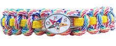 Order of the Eastern Star Braided Sports Bracelet,Multi-Color - Allow Weeks Production Time-Braided red, blue, green, and yellow Order of the Eastern Star sports bracelet. Fraternity Shirts, Sorority And Fraternity, Greek Paraphernalia, Jobs Daughters, My Sisters Keeper, Greek Gear, Mother Knows Best, Eastern Star, Religious Symbols