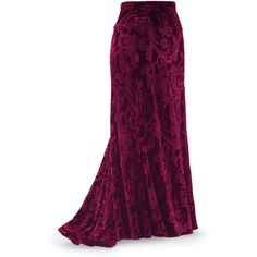 Burgundy Velvet Maxi Skirt ($90) ❤ liked on Polyvore featuring skirts, bottoms, long skirts, saias, renaissance skirt, gothic skirt, goth skirt, purple maxi skirt and dressy maxi skirts