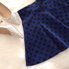 Zara blue polka dot skirt Brand new, never worn. Super cute polka dot skirt. Zara Skirts