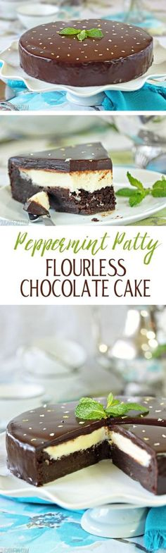 Peppermint Patty Flourless Chocolate Cake - moist and fudgy cake with an intense chocolate-mint flavor! | From SugarHero.com