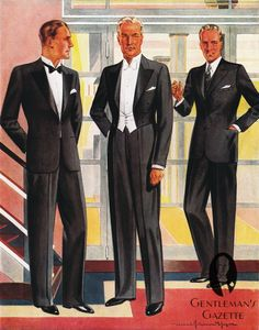 The three levels of classic evening dress code: semi formal (tuxedo), formal (white tie) and informal (suit)