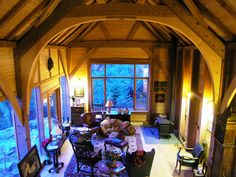 Bodega Ridge - Macdonald & Lawrence Timber Framing Ltd. love the massive arches in the ceiling.