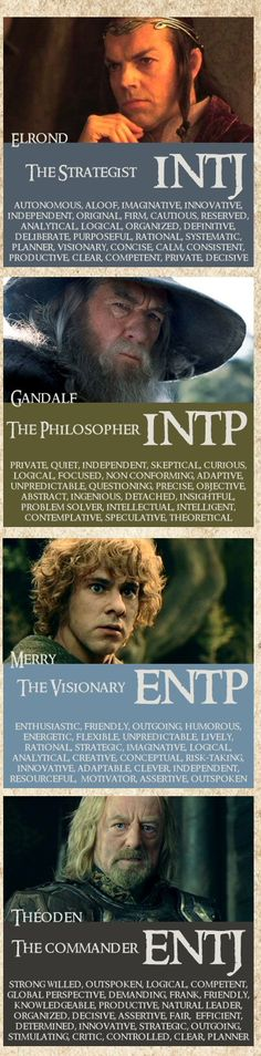 Lord of the Rings personality types - ENTP - I'm Merry. ^_^