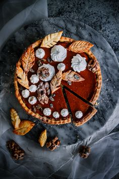 This silky, decadent autumnal classic is made a little more cheeky with some cognac and frosted walnuts. Make this vegan pumpkin pie for someone you love, especially if that someone is yourself.
