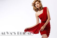 A-Line One shoulder  Mini / Short Sleeveless Chiffon  Red  Cocktail Dress with Ribbons(9937050)