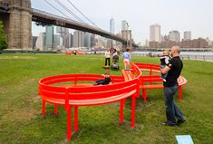 Jeppe Hein's playful installation, Please Touch the Art, at the Brooklyn Bridge Park from May 17, 2015 to April 17, 2016