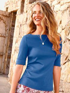 Efixelle - Shirt mit U-Boot-Ausschnitt - Kornblumenblau Basic Shirts, V Neck, Tops, Women, Fashion, Reach In Closet, Velvet, Cotton, Woman