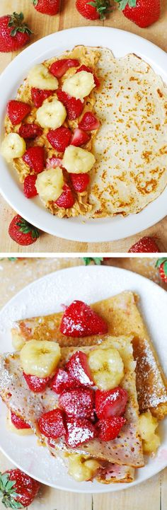 Crepes filled with strawberries, bananas, and peanut butter. Delicious, filling, and low carb!  breakfast recipe