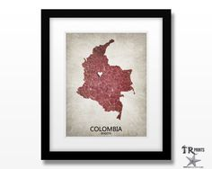 Colombia Map Art Print - Home Is Where The Heart Is Love Map - Original Custom Map Art Print Available in Multiple Size and Color Options by TRPrints on Etsy