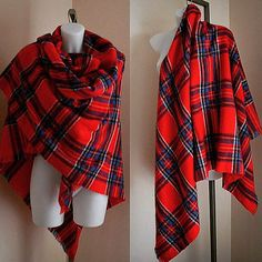 Vintage Red and Blue Plaid Wool Shawl Wrap Throw от MadMakCloset
