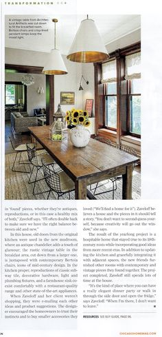 Love the rustic table mixed with the contemporary wire frame chairs.    Goodman Hanging Lamps by Thomas O'Brien| Kitchen Design by Kitchen Lab