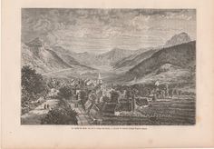 Antique French Engravingthe Valley of Mount Doré and Village de Bains,France by reveriefrance on Etsy