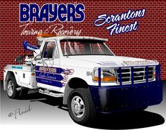 Vector vehicle rendering. Tow Truck used as main focal point in a t-shirt design