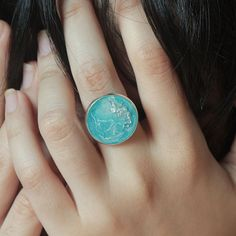 Resin Ring - Frozen Inspired Statement Ring Wonderfully handcrafted by myself.  Resin handmade ring inspired by Frozen movie that will remind you with Elsa color.