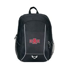 Arkansas State Atlas Black Computer Backpack, A State by College Fan Gear. $32.98. Rugged computer backpack designed for work or play. Large main compartment features padded computer sleeve (sleeve size: up to 15.4 in. laptop). Dual side mesh pockets for water bottles. Front pocket and tri ring for keys. Zippered front pocket with multi-function organizer and earphone outlet for MP3 player. Padded back panel for extra comfort. Adjustable, padded shoulder straps and top grab han...