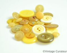 Vintage Yellow Buttons Mixed Lot