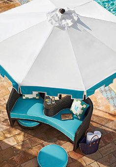 Malibu Lounge and Ottomans-Frontgate Balcony Furniture, Funky Furniture, Outdoor Furniture, Outdoor Dining, Outdoor Spaces, Outdoor Decor, Hygge Home Interiors, Outdoor Loungers, Patio Umbrellas