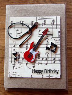 Handmade Cards, Handmade Birthday Cards, Band Card, Music Card, Guitar Card