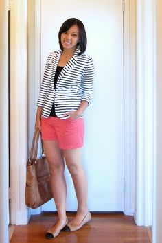 Striped blazer and hot pink shorts