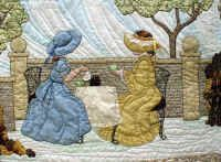 Two Bonnet Girls with different style bonnets and dresses take afternoon tea in the stone fence flower garden.  Shadow applique fills the sky and ground.