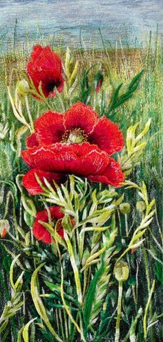 Thread paintings Available Thread Art, Thread Painting, Artist Painting, Free Motion Embroidery, Crewel Embroidery, Japanese Embroidery, Modern Embroidery, Watercolor Poppies, Watercolor Paintings