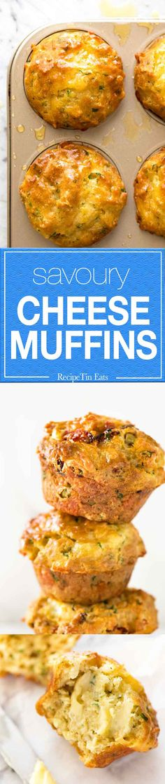 Quick and easy, sinfully delicious Savoury Cheese Muffins. They taste like cheesy garlic bread - in muffin form!