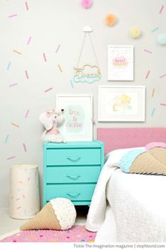 A sprinkles wall! This would be the cutest & most whimsical thing to do in a little kids bedroom A sprinkles wall! This would be the cutest & most whimsical thing to do in a little kids bedroom Pastel Bedroom, Pastel Girls Room, Bedroom Colors, Theme Bedrooms, Candy Themed Bedroom, Pastel Room Decor, Whimsical Bedroom, Pastel Nursery, Bedroom Romantic