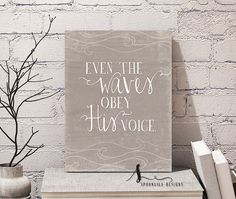 Christian Wall Decor Poster, Bible Verse Print Scripture Art, Inspirational Quote - Matthew 8:27 - Even The Waves Obey His Voice Spoonlily
