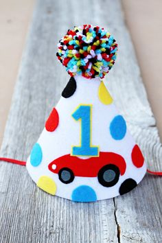 Boys 1st Birthday Race Car Party Hat