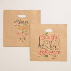 Stock up on our decorative to-go bags to send your guests home with choice leftovers from your fall get-togethers…